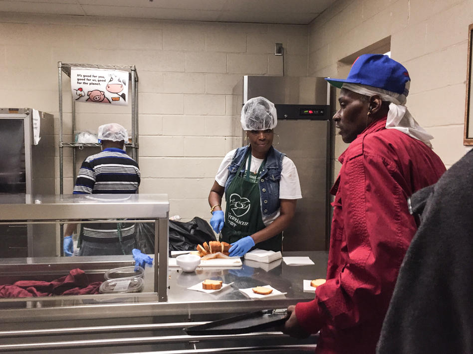 The Franciscan Center in Baltimore serves a hot lunch daily to those who need extra help, even if they receive food stamps. Those benefits could end for 755,000 able-bodied adults. (Pam Fessler/NPR)
