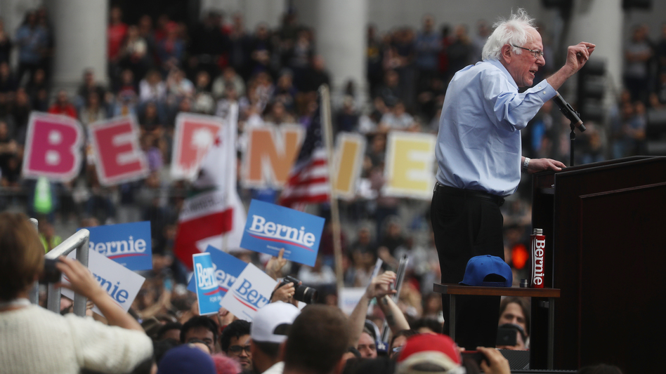 Democratic presidential candidate Sen. Bernie Sanders, I-Vt., speaks at a campaign rally in Los Angeles on March 23. His campaign reported on Tuesday that it raised $18.2 million through the end of the first quarter of the year. (Mario Tama/Getty Images)