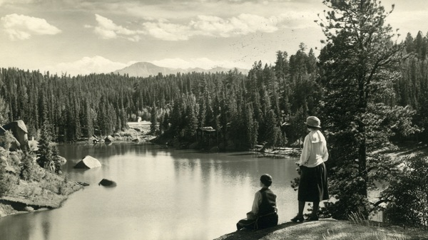 A view of Pikes Peak from the Carroll Lakes, circa 1925. Katharine Lee Bates