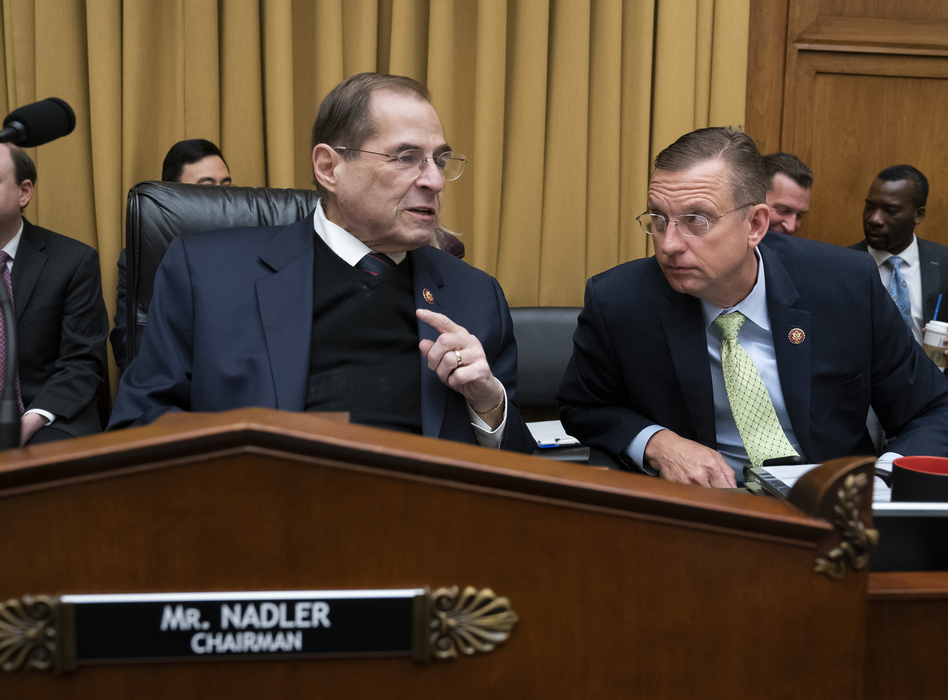 House Judiciary Committee Chair Jerrold Nadler, D-N.Y., debated with ranking member Doug Collins, R-Ga., (right) about his move to subpoena the Justice Department to obtain an unredacted copy of the Mueller report at a committee markup Wednesday. (J. Scott Applewhite/AP)