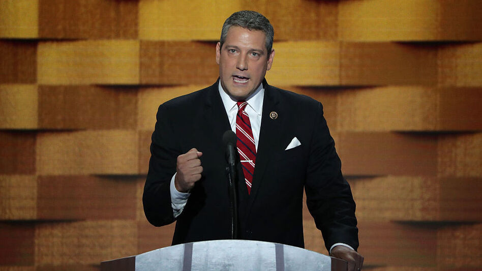 Rep. Tim Ryan, D-Ohio, delivers remarks on the fourth day of the Democratic National Convention in 2016. He is now launching his own campaign for president in 2020. (Alex Wong/Getty Images)