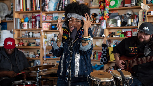 Georgia Anne Muldrow performs a Tiny Desk Concert on Feb. 26, 2019 (Amr Alfiky/NPR).