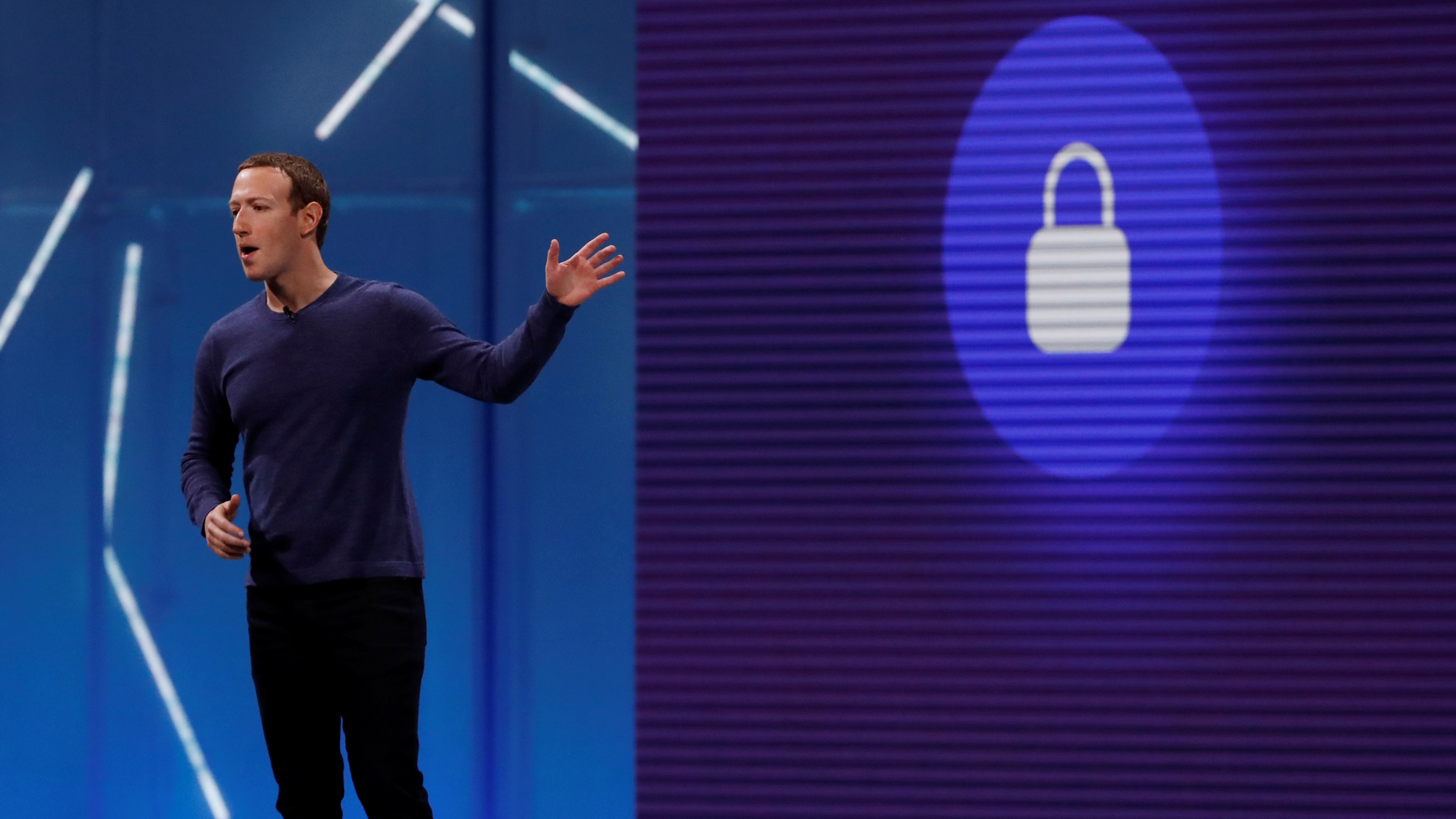 Facebook CEO Mark Zuckerberg speaks at the company's annual developers conference in San Jose, Calif., May 1, 2018. Facebook is beginning to enforce a ban on white nationalist content.