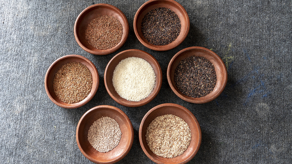 Some of the 20 different types of rice used during the three-month festival Kochi-Muziris Biennale in India. Chefs served two varieties of rice every day, along with multiple dishes of vegetables and meat or seafood.