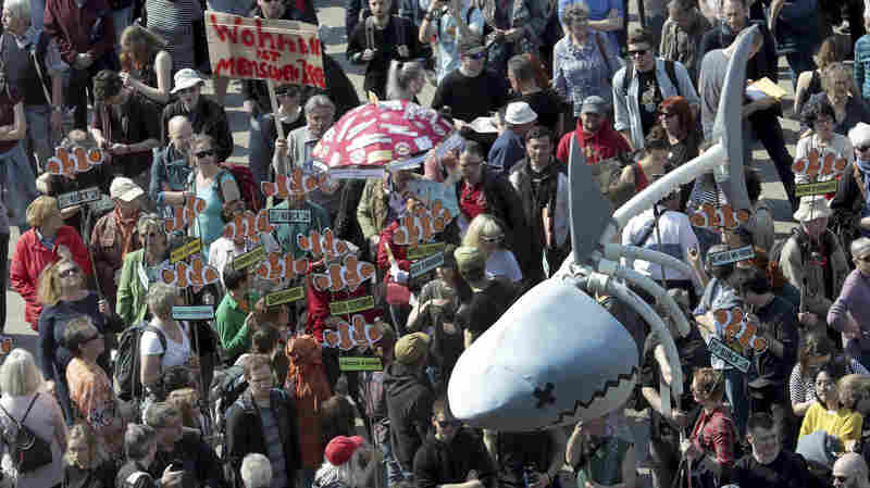 Berliners Demonstrate Against 'Rent Sharks' In Fight Over Rising Costs