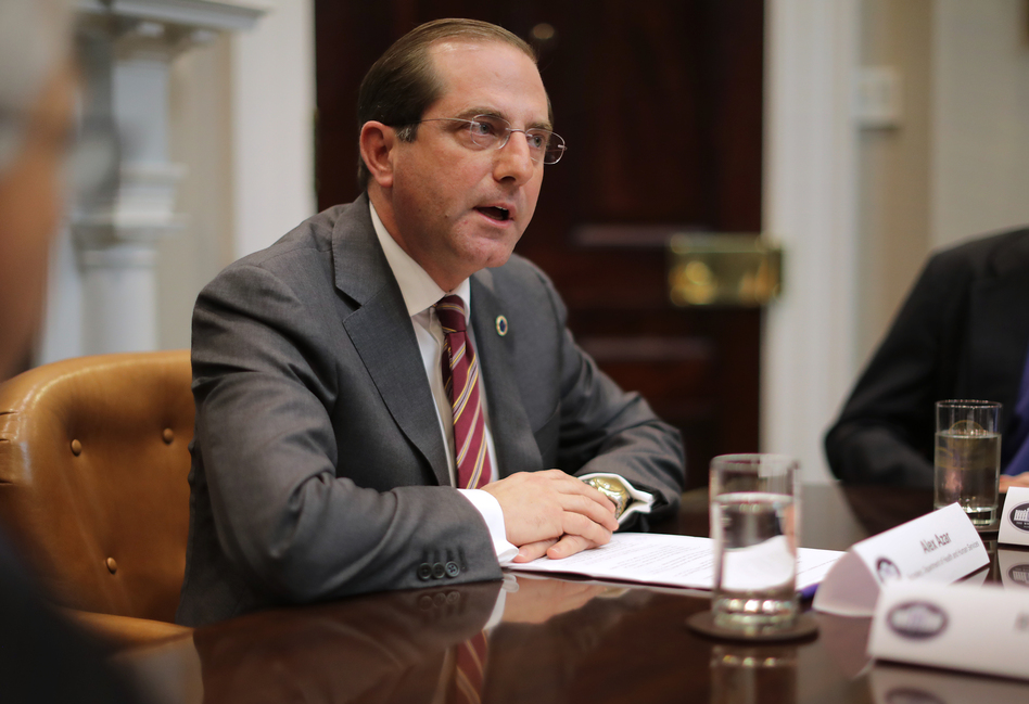"HHS Secretary Alex Azar at a White House roundtable discussion of health care prices in January. Azar tells NPR his office is now in ""active negotiations and discussion"" with drugmakers on how to make HIV prevention medicines more available and ""cost-effective."" (Chip Somodevilla/Getty Images)"