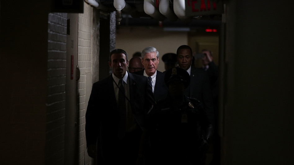 Special counsel Robert Mueller, center, leaves after a closed meeting with members of the Senate Judiciary Committee on June 21, 2017, at the Capitol in Washington, D.C. (Alex Wong/Getty Images)