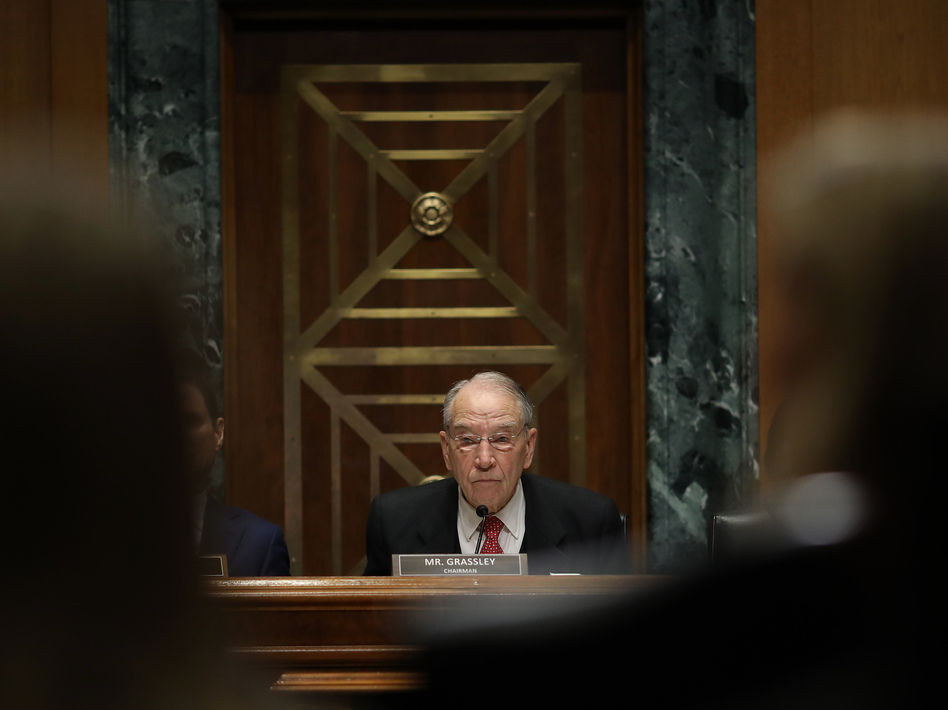 Sen. Chuck Grassley, R-Iowa, will lead the Senate Finance Committee's questioning Tuesday of executives from pharmacy benefit managers about drug costs. (Win McNamee/Getty Images)