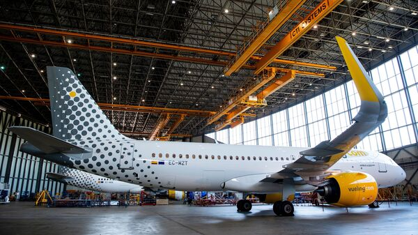 A new Airbus A320neo aircraft is presented by the Spanish airline Vueling at Barcelona