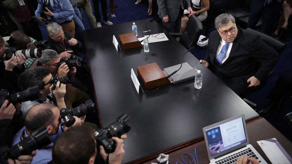 Attorney General William Barr arrives to testify about the Justice Department's FY 2020 budget request before a subcommittee of the House Appropriations Committee on Tuesday. (Chip Somodevilla/Getty Images)