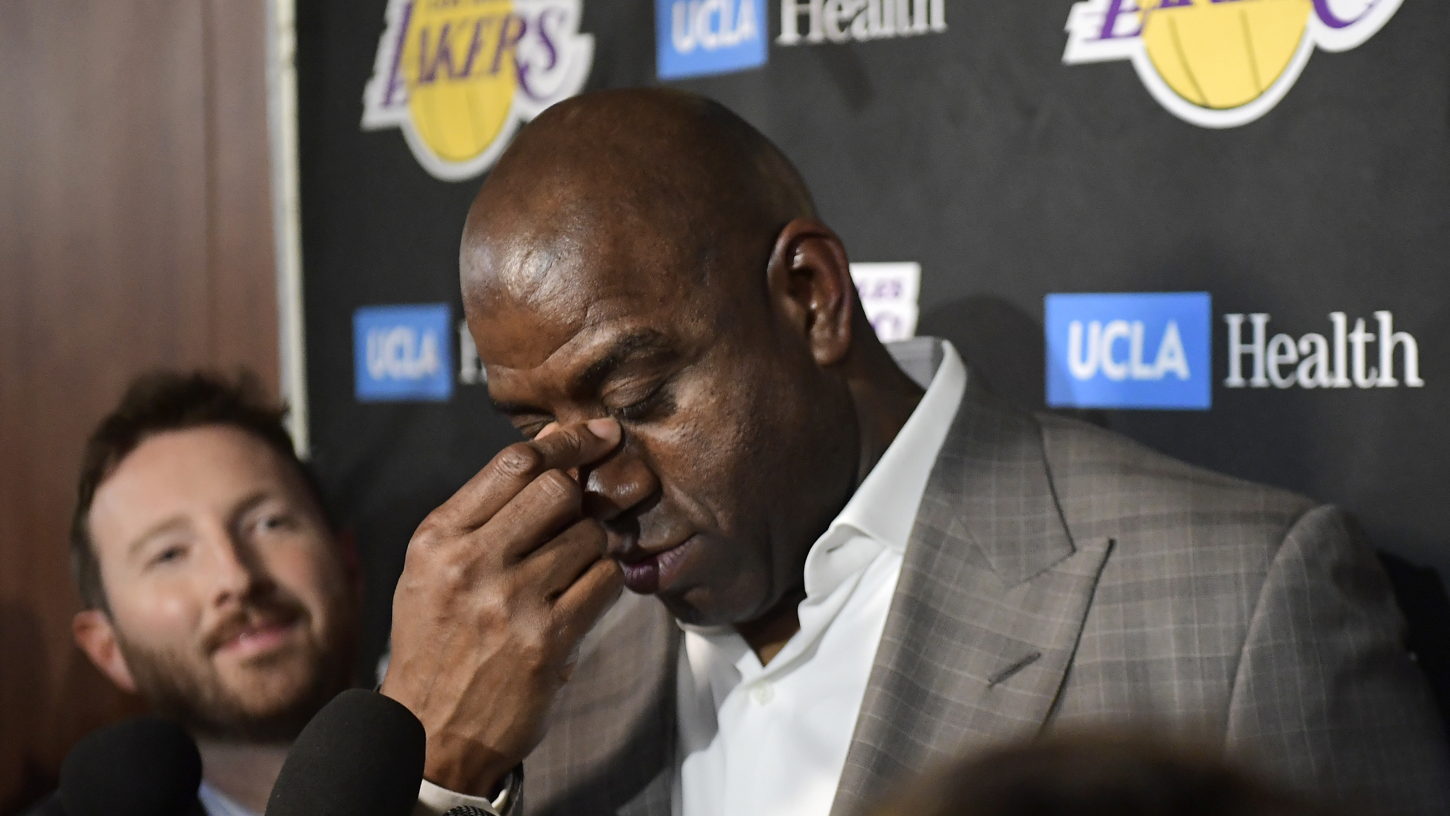 """Magic Johnson fought back tears while he broke the news of his resignation from the LA Lakers on Tuesday. He said he hadn't told his boss yet because he knew he would cry """"like a baby."""""""