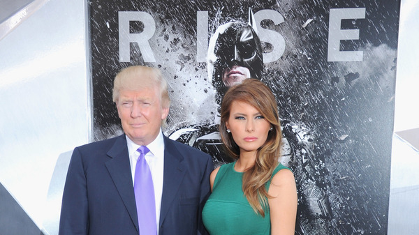 President Trump tweeted a video promoting his campaign that used music from the Batman movie The Dark Knight Rises without permission. Trump and first lady Melania Trump are seen here at a premiere of the film in 2012.