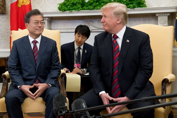 President Trump and South Korean President Moon Jae-in during a 2018 meeting in the Oval Office. Thursday's meeting is their first since Trump's unsuccessful summit with North Korea in February.