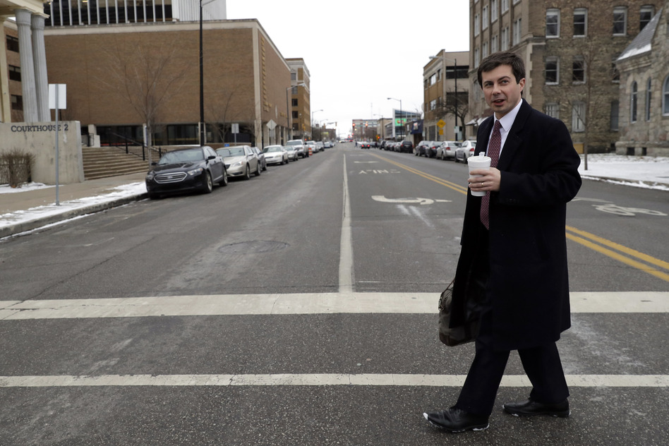 Mayor Pete Buttigieg in downtown South Bend, Ind., in January, 2019. First elected in 2011, Buttigieg has based his presidential candidacy, in part, around the revival of South Bend that he's helped engineer. (Nam Y. Huh/AP)