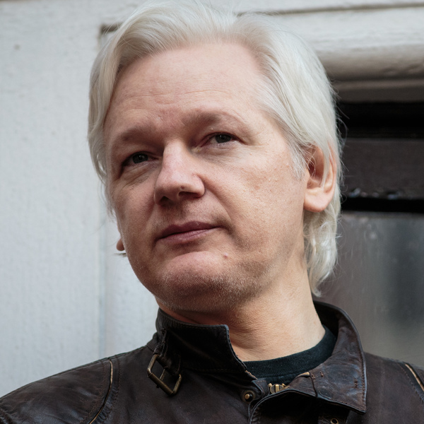 Julian Assange speaks to the media from the balcony of the Ecuadorian Embassy in London on May 19, 2017.