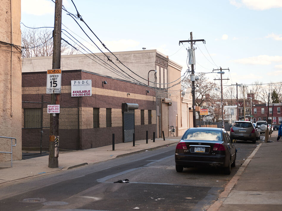 Safehouse is considering locating in this block of Hilton Street in the Kensington section of Philadelphia. The proposed facility would allow drug users to inject under medical supervision. The neighborhood is known for its drug use. (Natalie Piserchio for NPR)