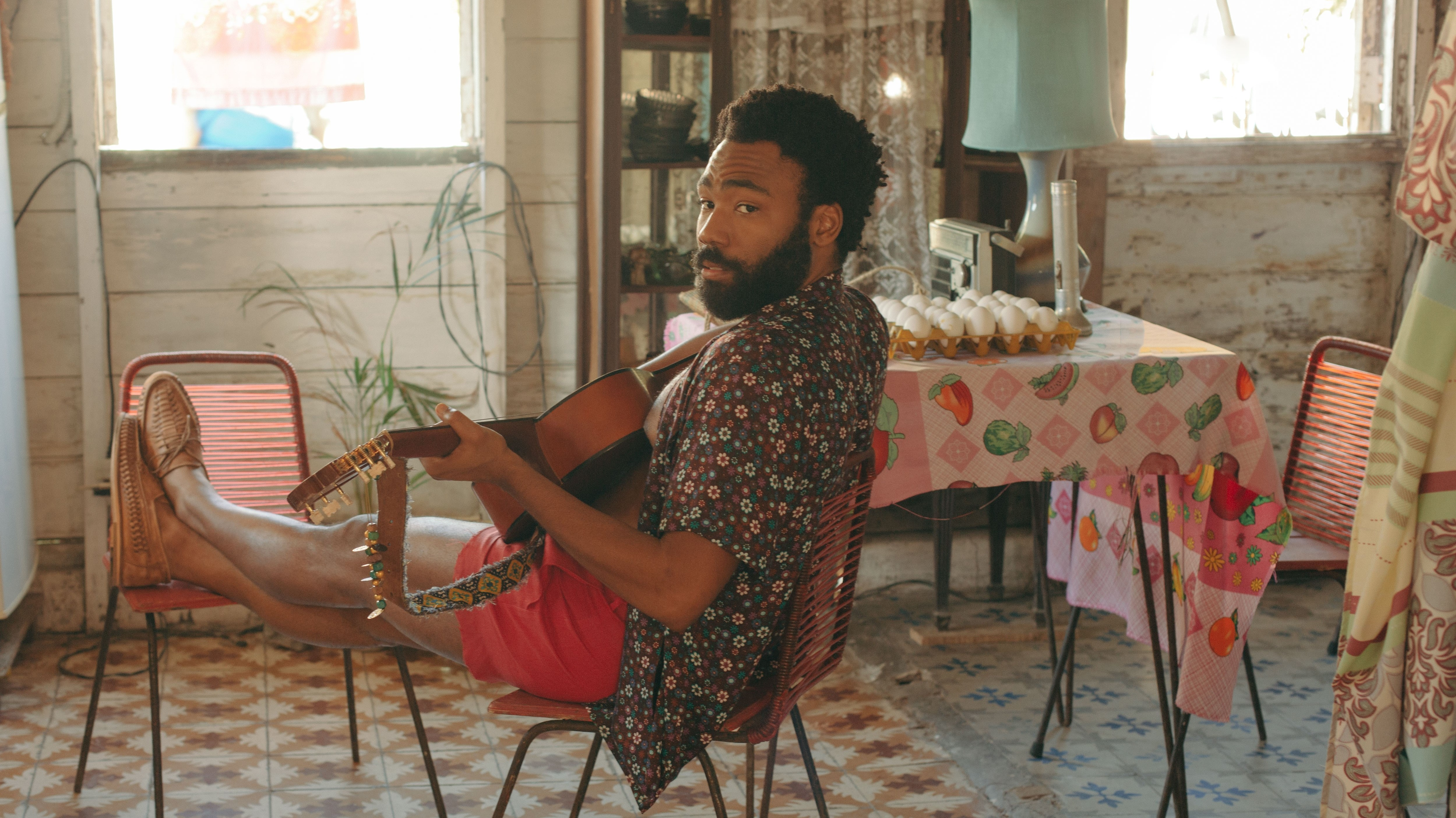 Donald Glover in a still from Guava Island, which he stars in with Rihanna. The film premiered at Coachella, where Glover's musical act Childish Gambino headlined on Friday.