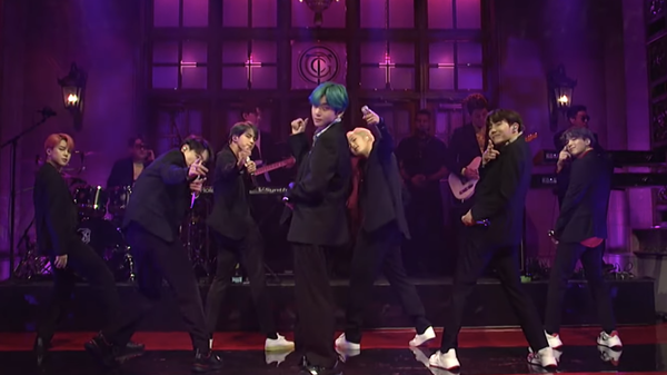 BTS performing live on SNL.