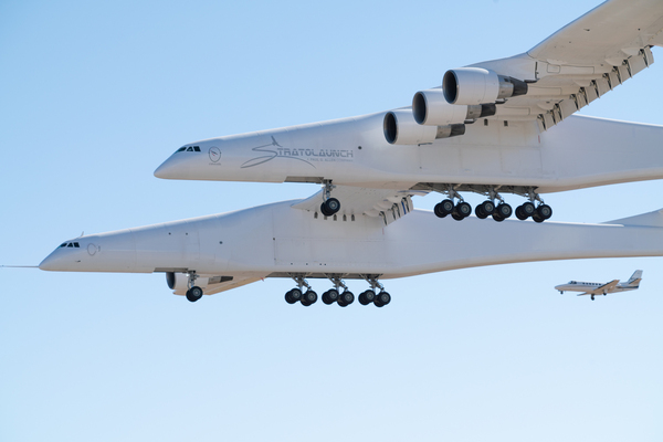 The Stratolaunch plane features six turbofan engines and a dual-fuselage design.