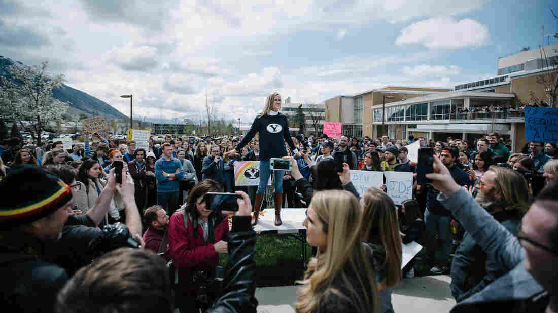 A Rare Sight At Brigham Young University As Students Protest The Honor Code Office 1