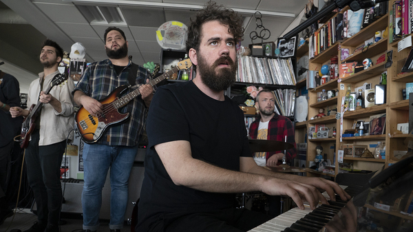 Theodore performs a Tiny Desk Concert on March 27, 2019 (Amr Alfiky/NPR).