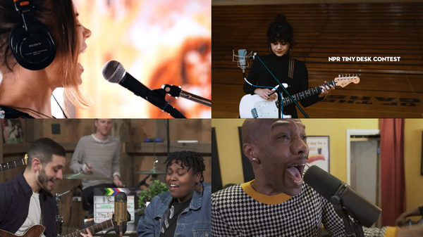 Some of our favorite Tiny Desk Contest entries this week. Clockwise from top left: Angela Sheik; Isabeau Waia