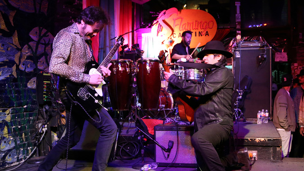 Twanguero, Danilo Torres, and Moises Baqueiro perform onstage for NPR Alt.Latino during the 2019 SXSW Festival at Flamingo Cantina in March 2019 in Austin.