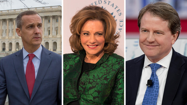 "Former Trump campaign manager Corey Lewandowski (left), former deputy national security adviser designate Kathleen Troia ""K.T."" McFarland and former White House counsel Don McGahn were named in Robert Mueller's report as people who did not carry out President Trump's asks. (Tasos Katopodis; Chris Kleponis/AFP; Jim Watson/AFP/Getty Images)"