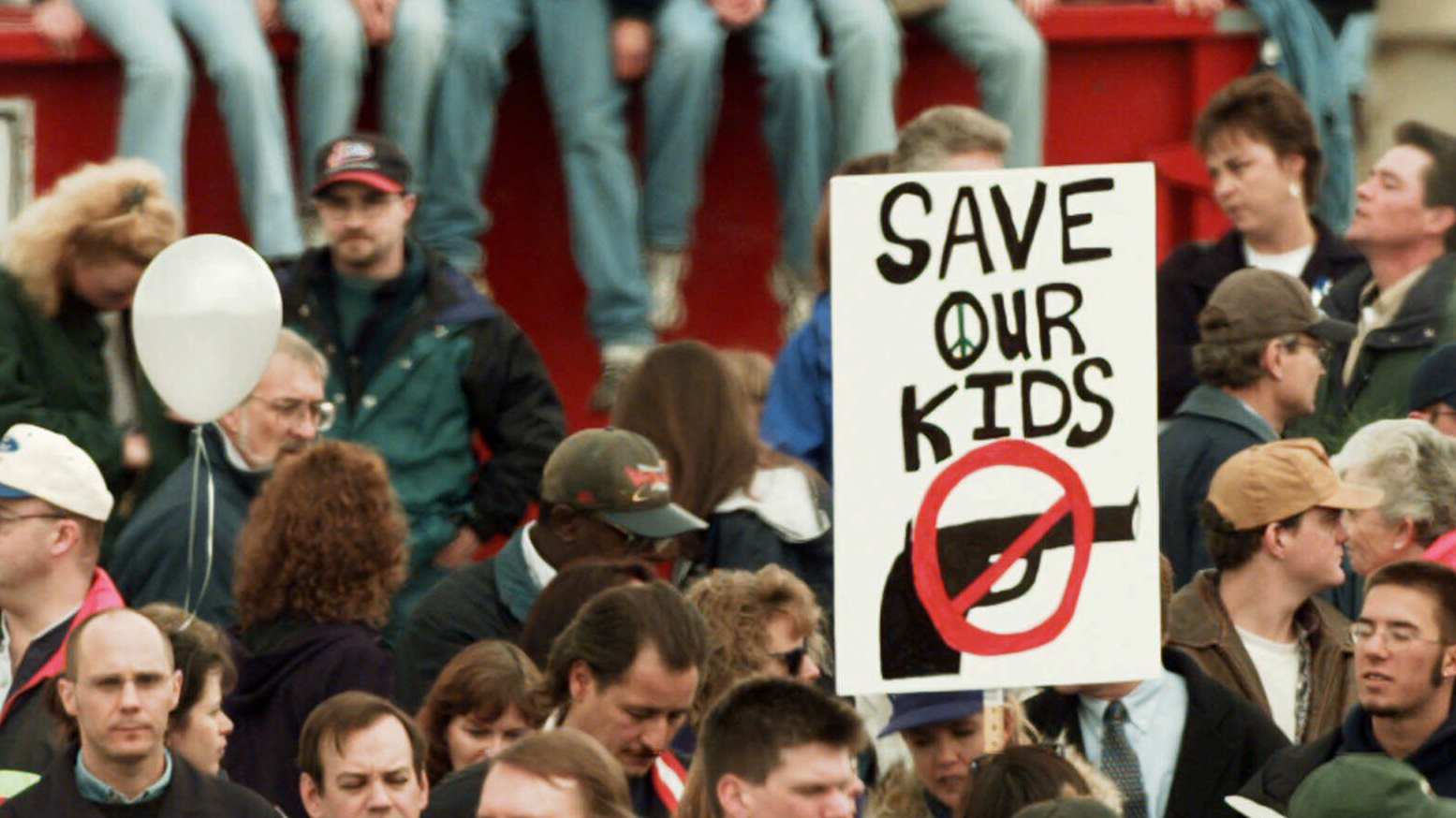 On April 25, 1999, a memorial service honors the victims of the Columbine High School shooting in Littleton, Colo.