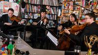 The Calidore String Quartet performs a Tiny Desk Concert on April 5, 2019 (Amr Alfiky/NPR).