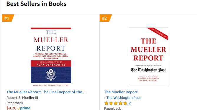 The Mueller Report Is Free To Read, But It's Also A Bestseller