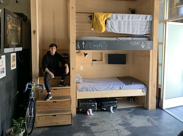 "Steven T. Johnson rents a bed at the PodShare in Hollywood, Calif. ""When you don't own things, you don't have to keep track of them,"" he says. ""You just show up."" (Courtesy of Steven T. Johnson)"