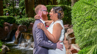 Kevin Biely, 37 and Kat McClain, 28, on their wedding day in Las Vegas. In 2017, NPR documented their first date, which was set up by a matchmaker.