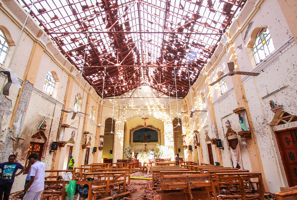 Sri Lankan officials inspect St. Sebastian's Church in Negombo, north of Colombo, Sri Lanka's capital, after a series of explosions on Easter Sunday at churches and hotels across Sri Lanka killed nearly 300 people and wounded hundreds more. (Getty Images)