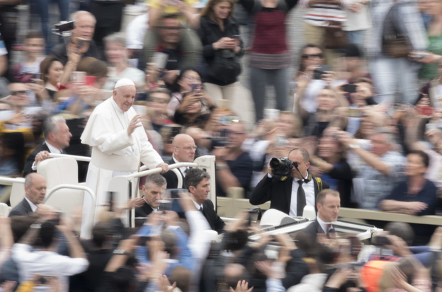 Pope Francis waves to the crowd after celebrating Ester Mass in St. Peter's Square at the Vatican, Sunday, April 21, 2019. (NurPhoto via Getty Images)