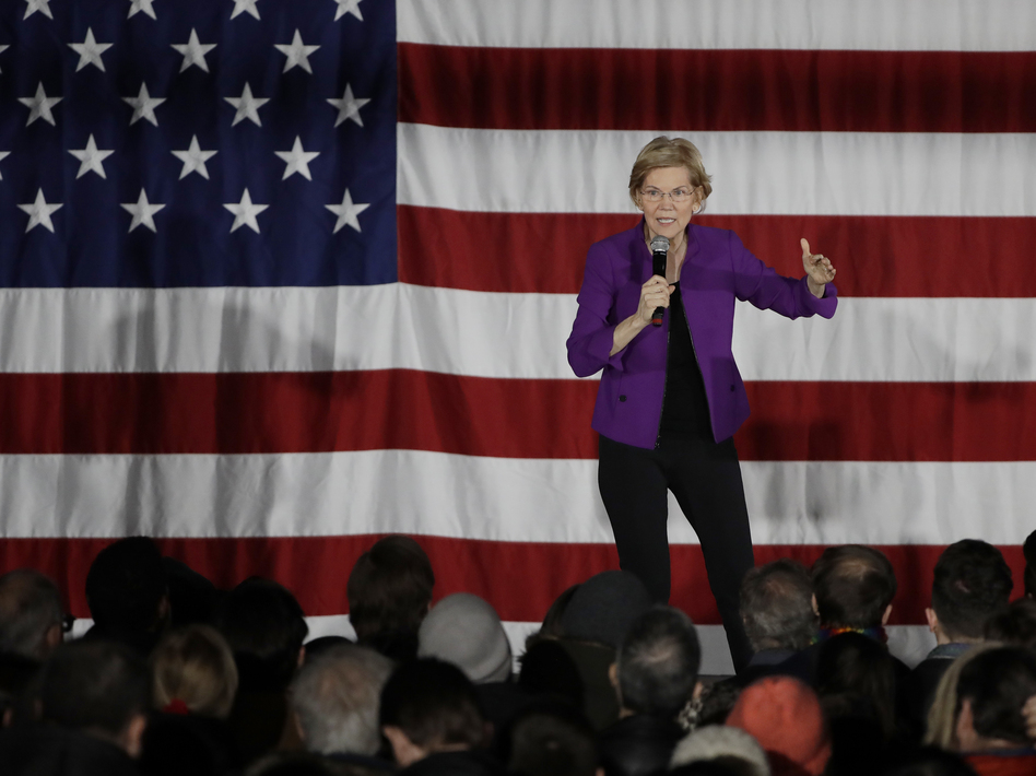 2020 Democratic presidential candidate Sen. Elizabeth Warren speaks to local residents in Queens, N.Y. Warren wants the federal government to forgive hundreds of billions of dollars in existing student loan debt. (Frank Franklin II/AP)
