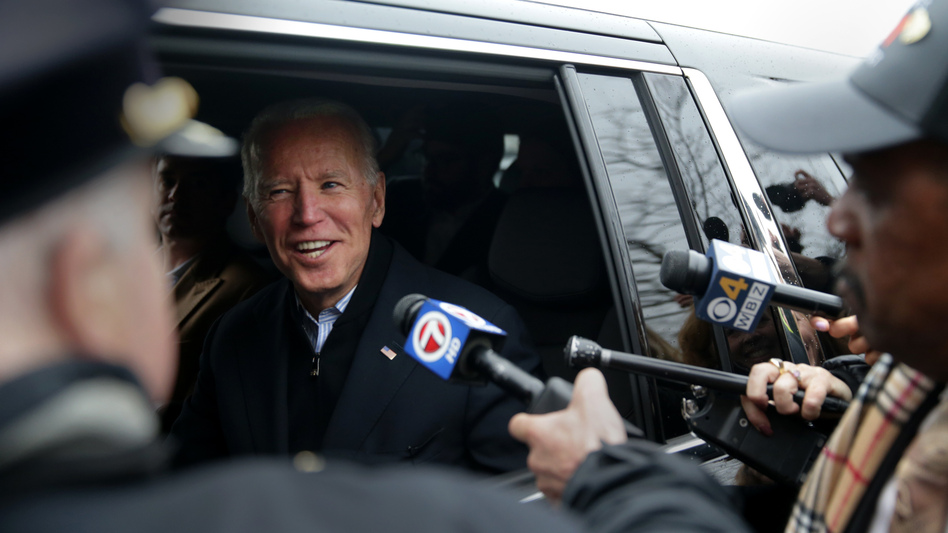 Former Vice President Joe Biden leaves after addressing striking workers at the Stop & Shop in the Dorchester neighborhood of Boston on April 18. He is expected to launch a presidential campaign within days. (Jonathan Wiggs/The Boston Globe via Getty Images)