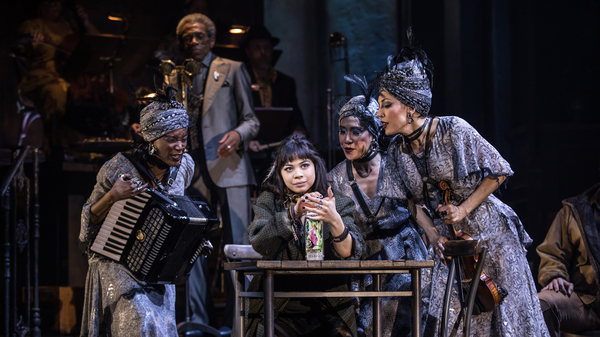 Eva Noblezada, who plays Eurydice, and the Broadway cast of Hadestown.