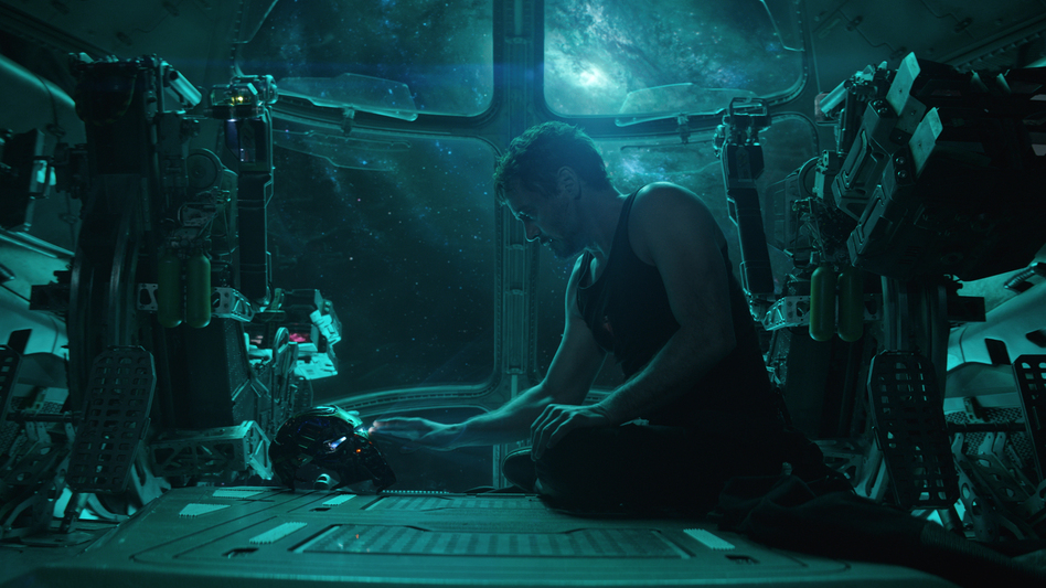 <em>I ... </em>was<em> Iron Man</em>: A stranded-in-space Tony Stark (Robert Downey Jr.) shares a somber moment with his suit's A.I. (Marvel Studios)