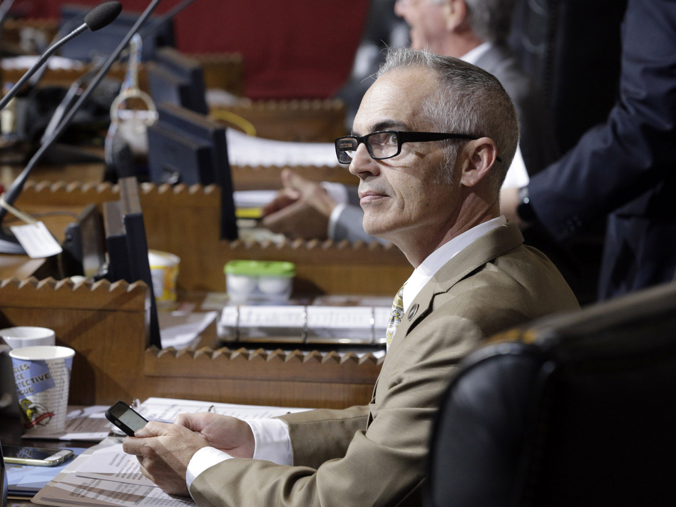 Los Angeles City Councilman Mitch O'Farrell, seen in Council Chambers in 2015, originally introduced the measure that requires city contractors to fully disclose any sponsorship of, or contract with, the NRA. The gun rights group is challenging the ordinance. (Nick Ut/AP)