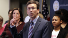 "Washington state Attorney General Bob Ferguson speaks at a Feb. 25 news conference in Seattle announcing a lawsuit challenging the Trump administration's Title X ""gag rule."""