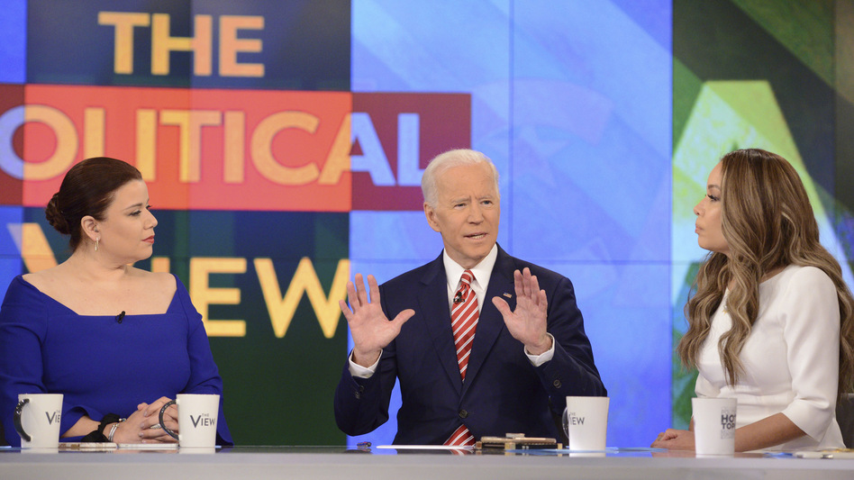 Democratic presidential candidate and former Vice President Joe Biden appears on <em>The View</em> on Friday, where he was asked about criticism from Anita Hill and accusations of unwanted touching. (Lorenzo Bevilaqua/ABC via AP)