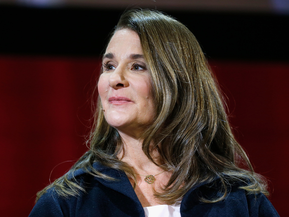 Melinda Gates at a panel discussion in New York in February. She is the author of a new book, <em>The Moment of Lift: How Empowering Women Changes the World.</em> (John Lamparski/Getty Images)