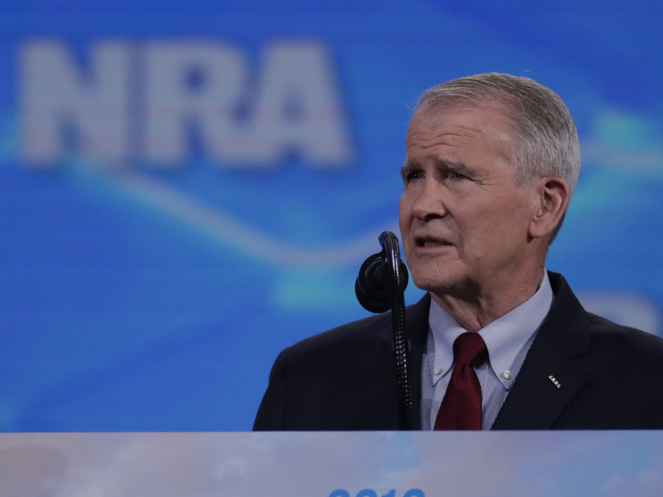 Oliver North speaks at the National Rifle Association Institute for Legislative Action Leadership Forum at Lucas Oil Stadium in Indianapolis on Friday. (Michael Conroy/AP)