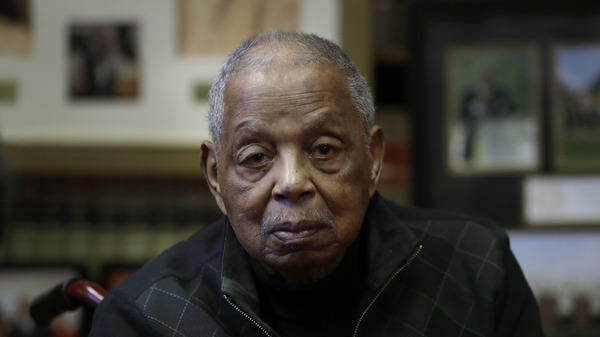 Judge Damon J. Keith, pictured in October 2017 in his Detroit office, died on Sunday at the age of 96.