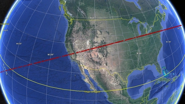 A stripe of red dots shows the risk corridor for a hypothetical asteroid strike, part of an exercise this week held by planetary defense experts in which they analyze data about a fictitious asteroid.