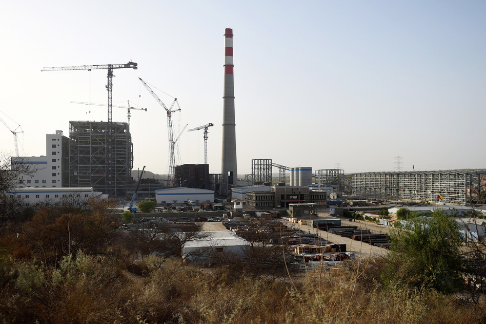 A Chinese-backed power plant under construction in 2018 in the desert in the Tharparkar district of Pakistan's southern Sindh province. (Rizwan Tabassum/AFP/Getty Images)