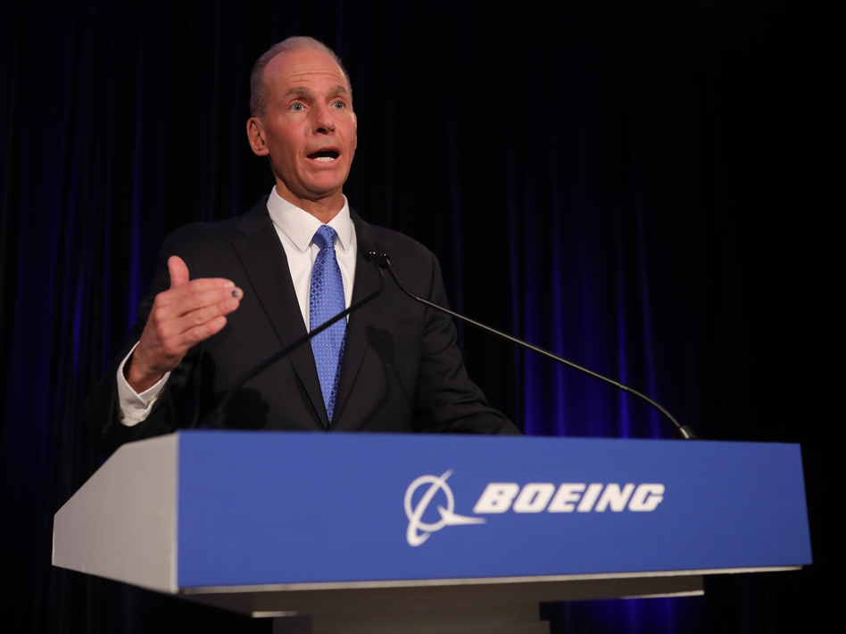Boeing Chief Executive Officer Dennis Muilenburg speaks at the Boeing Annual Shareholders Meeting on Friday in Chicago. (Pool/Getty Images)