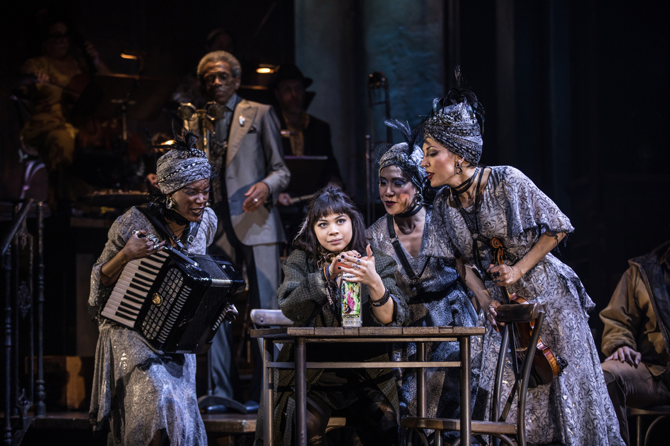 <em>Hadestown</em> was nominated for 14 Tony Awards, including one for best musical and another for best leading actress in a musical (Eva Noblezada, center). The awards ceremony is scheduled for June 9. (Matthew Murphy/Courtesy of Hadestown, The Musical)