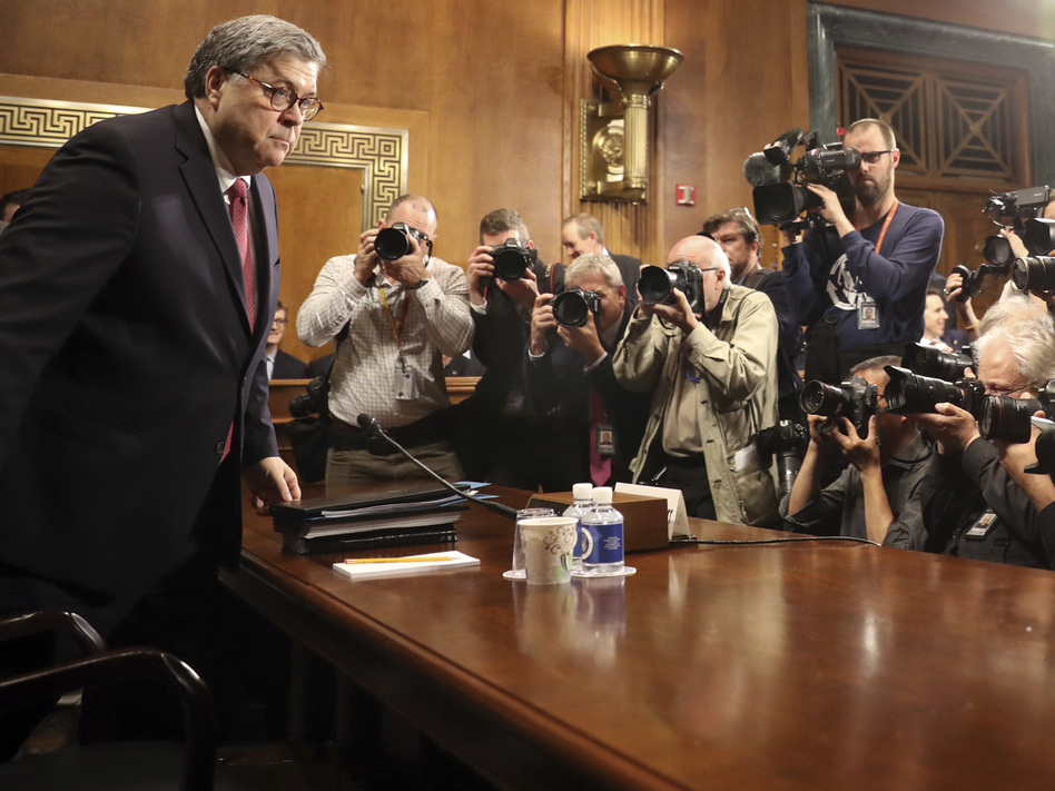 Attorney General William Barr arrived to testify during a Senate Judiciary Committee hearing on Capitol Hill. Some Democrats are calling on him to step down. (Andrew Harnik/AP)